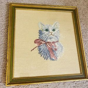 Vintage 1970's Crewel Embroidery Cat Wall Art